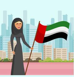 woman in hijab visit city flat vector image