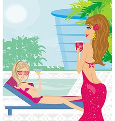 Woman relaxing in the elegant spa vector