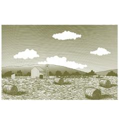 Woodcut Barn Scene vector