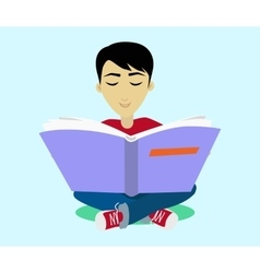 Young Black Haired Man Enjoying Reading Big Book vector