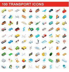 100 transport icons set isometric 3d style vector image vector image