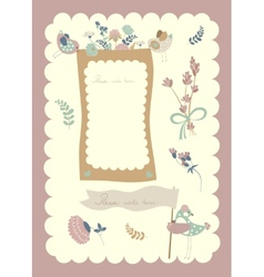 border set birds and flowers vector image
