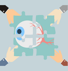 Four hands putting jigsaw puzzle pieces with vector