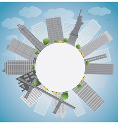 New York city skyline and circle vector image