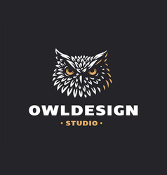 owl head logo- emblem design vector image