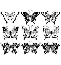 set of nine ornamental butterflies vector image vector image