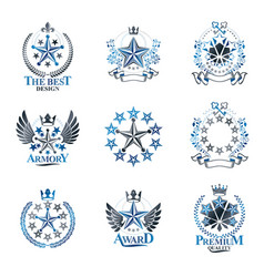 Stars emblems set heraldic coat of arms vector