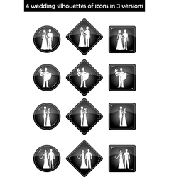 wedding silhouette set vector image