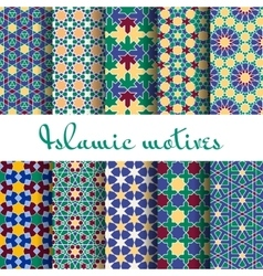 Arab spring seamless pattern set vector image
