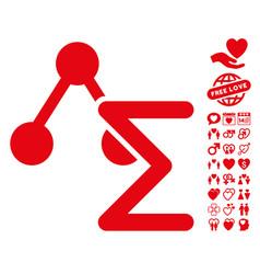chemical formula icon with love bonus vector image