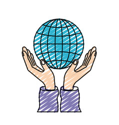 Color crayon silhouette hands with floating globe vector