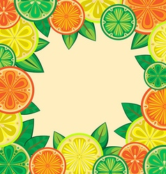 Decorative frame of oranges lemons and limes vector image