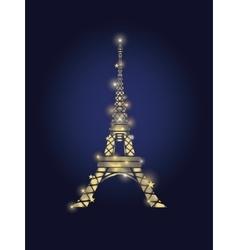 Glowing Golden Eiffel Tower in Paris vector image