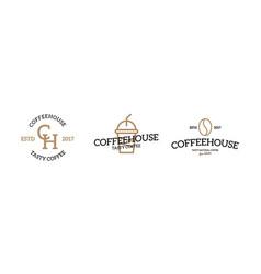 set of coffee logo emblem design on white vector image