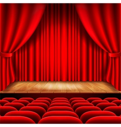 Theater stage with red curtain and seats vector image