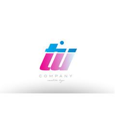 tu t u alphabet letter combination pink blue bold vector image