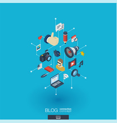 Blogging integrated 3d web icons digital network vector