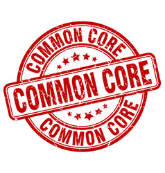 Common core red grunge stamp vector