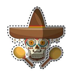 Sticker decorative ornamental sugar skull with vector