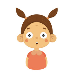 surprised little girl flat cartoon portrait emoji vector image vector image