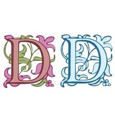 Vintage initials letter D vector image