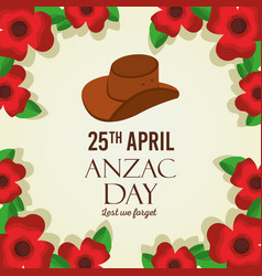 anzac day lest we forget card remembrance memorial vector image