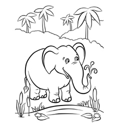 Elephant playing with water vector image