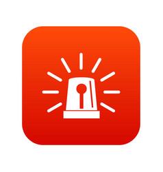 flashing emergency light icon digital red vector image