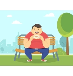 Happy fat man eating a big donut in the park vector image