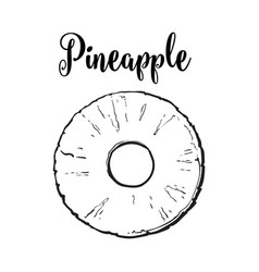 peeled round pineapple slice with hole in middle vector image