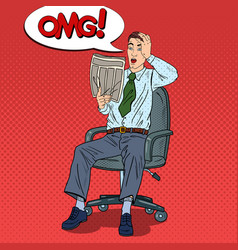 pop art shocked man reading newspaper vector image vector image