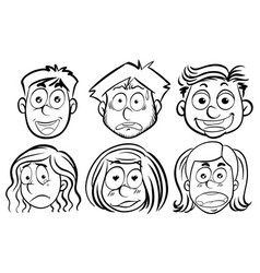 six faces with different emotions vector image vector image