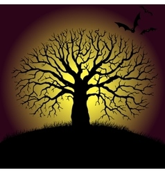 tree and bat silhouettes vector image