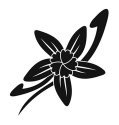 Vanilla sticks with a flower icon simple style vector