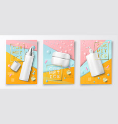 3d realistic cosmetic bottle poster mockup vector image