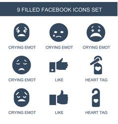 9 facebook icons vector