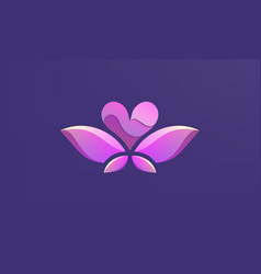 A pink winged heart in flight logo design vector