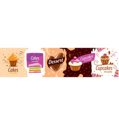 a set creative logos for sweets and cakes vector image
