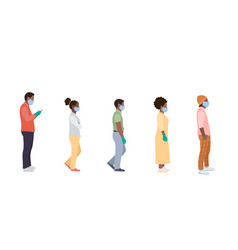 african americans people stand queue full length vector image