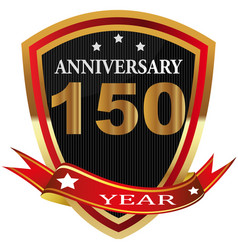 Anniversary 150 th label with ribbon vector