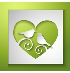 Background with birds and love heart vector image