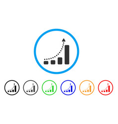 bar chart trend rounded icon vector image
