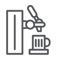 beer tap line icon beverage and brewery bar tap vector image