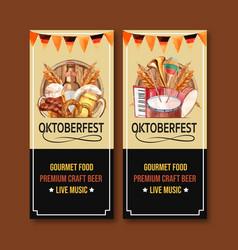 Beer wheat pretzel and sausage flyer design vector