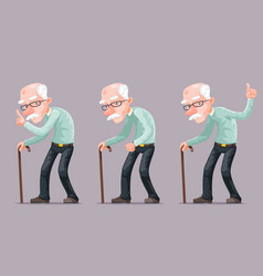 Bent old man cane wise moral preaching instruction vector