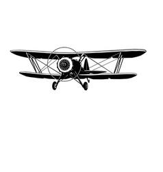 biplane retro monogram logo vector image