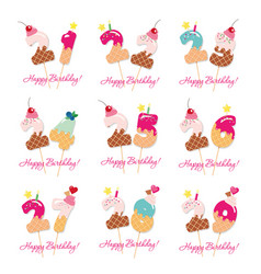 Birthday cards set festive sweet numbers from 21 vector