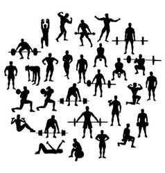 Bodybuilder and Fitness Silhouette vector