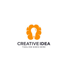 Brain and light bulb for creative idea thinking vector