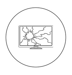 broken television icon in outline style isolated vector image